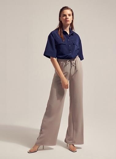 Monamoda Beli Lastikli Cepli Bol Pantolon Takım Alt Gri